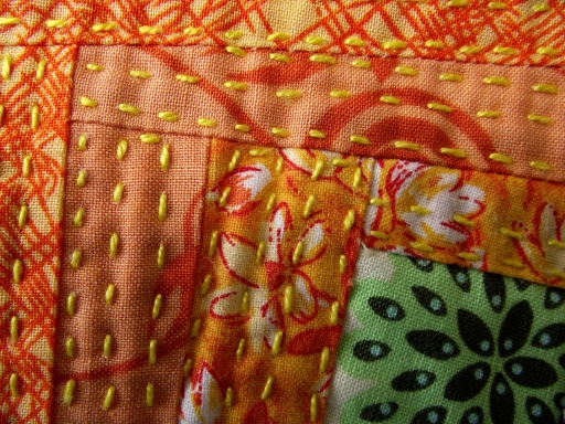 Woodpile close up orange