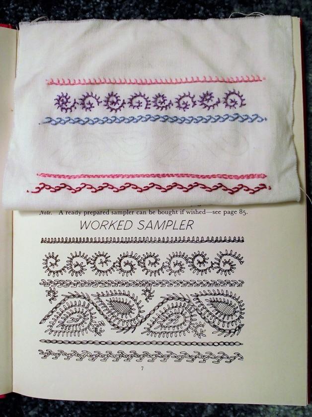 Dorset Feather Stitchery worked sample
